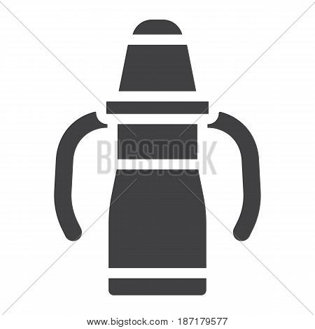 Sippy cup solid icon, baby cup and bottle, vector graphics, a filled pattern on a white background, eps 10.