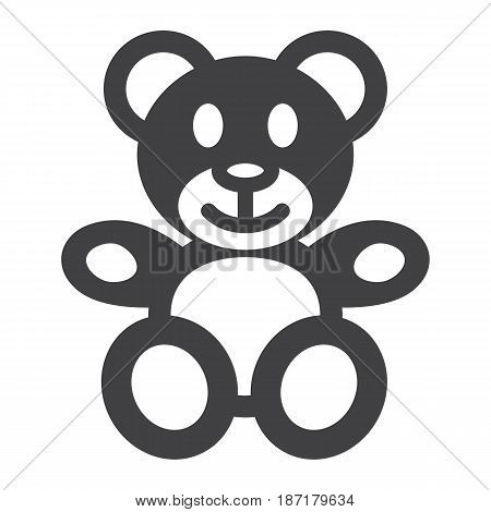 Teddy bear solid icon, plush toy and baby, vector graphics, a filled pattern on a white background, eps 10.