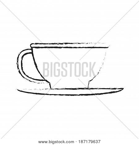 blurred silhouette image cartoon porcelain cup in dish crockery vector illustration