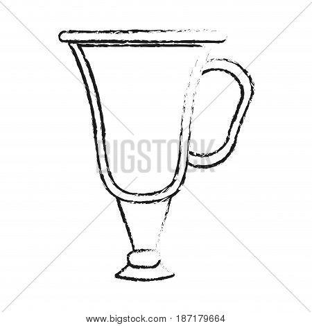 blurred silhouette image cartoon transparent glass cup of coffee with handle vector illustration