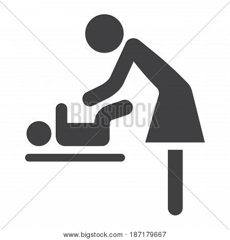 Mother swaddle baby solid icon, care and motherhood, vector graphics, a filled pattern on a white background, eps 10.