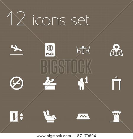 Set Of 12 Land Icons Set.Collection Of Air Traffic Controller, Letdown, Cab And Other Elements.