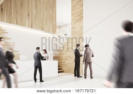 Side view of an office lobby with business people a white reception counter and stairs. 3d rendering