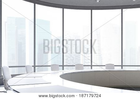 Close up of a conference room interior with a round table white office chairs near it and a panoramic window. 3d rendering