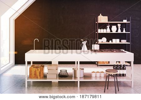 Interior of an attic kitchen with brown walls a cooker a sink and a cupboard with dishes and cutting boards. 3d rendering mock up toned image