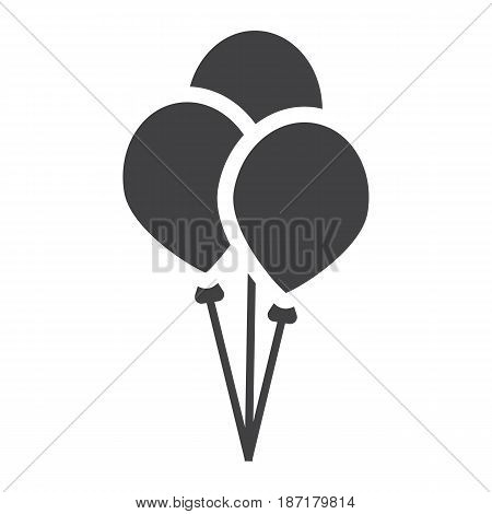 Ballons solid icon, party and holiday, vector graphics, a filled pattern on a white background, eps 10.