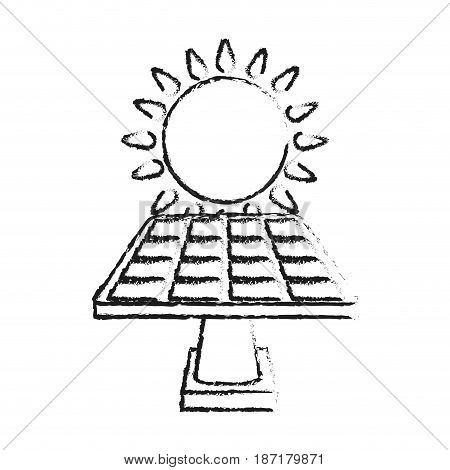 blurred silhouette image cartoon solar energy panel on platform with shape sun vector illustration