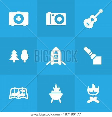 Set Of 9 Picnic Icons Set.Collection Of Tree, Inflatable Raft, Campfire And Other Elements.