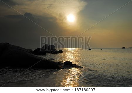 Natural Rock Formation At The Coast On White Sand Beach In Belitung Island During Sunset, Indonesia.