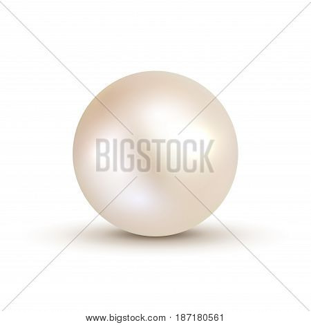 3D shiny natural White Pearl ball. Vector accessory beauty decoration. Fashion jewel symbol.