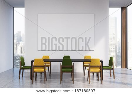 Meeting room interior with a long black table surrounded by yellow and black chairs a large horizontal poster hanging on a wall and panoramic windows. 3d rendering mock up