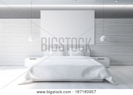 Front view of a gray wall bedroom interior with a double bed a bedside table a horizontal poster and a large window. 3d rendering mock up