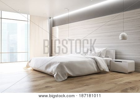 Corner of a gray wall bedroom interior with a double bed a bedside table two ceiling lamps and a large window. 3d rendering
