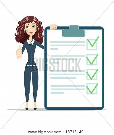 businesswoman with checklist. happy young woman .thumbs up. Stock vector illustration