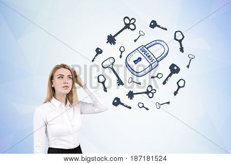 Portrait of a confused blond businesswoman scratching her head and standing near a blue wall with a padlock sketch surrounded by keys