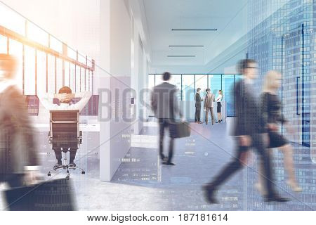 Business people in suits are walking in an office lobby with white walls panoramic windows and glass doors. Cityscape in the background. 3d rendering toned image double exposure