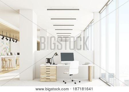 Open office interior with a bar table laptops standing on it light wooden floor computer on a desk and a wall with sticky notes. 3d rendering mock up