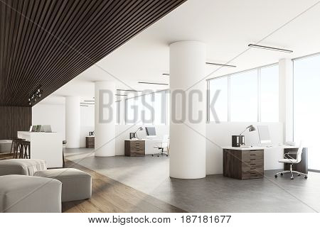 Side view of an open office interior with a bar table laptops standing on it dark wooden ceiling and floor and a wall with sticky notes. 3d rendering