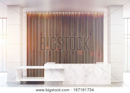 White marble reception counter of an original construction is standing near a wall with wooden vertical blinds. 3d rendering toned image