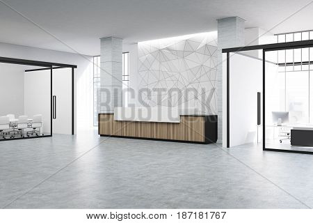Wooden and white reception counter of an original construction is standing in an office lobby with a glass wall meeting room. 3d rendering