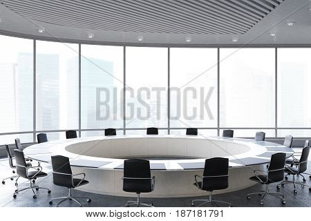 Conference room interior with a round table black office chairs near it and a panoramic window. 3d rendering