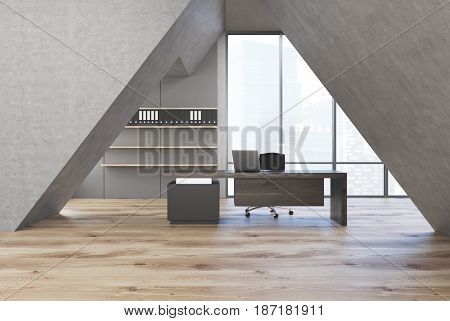 CEO office interior with a triangular arc. There is a gray table with a laptop on it a leather office chair and shelves with binders. 3d rendering.