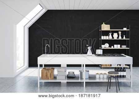 Interior of an attic kitchen with black walls a cooker a sink and a cupboard with dishes and cutting boards. 3d rendering mock up