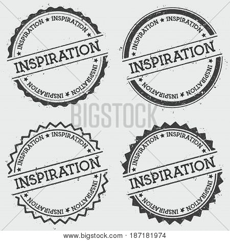 Inspiration Insignia Stamp Isolated On White Background. Grunge Round Hipster Seal With Text, Ink Te