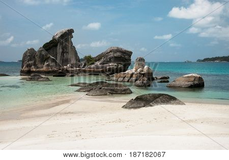 Natural Rock Formation In The Sea And On A White Sand Beach In Belitung Island In The Afternoon, Ind