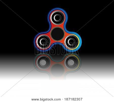 Fidget spinner icon - toy for stress relief and improvement of attention span. Filled with colorful and black color. Isolated vector illustration.