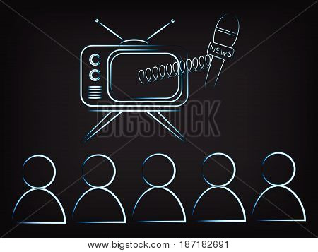 Family Watching Tv With News Microphone Popping Out Of The Screen