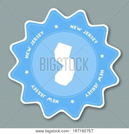 New Jersey Map Sticker In Trendy Colors. Travel Sticker With Us State Name And Map. Can Be Used As L