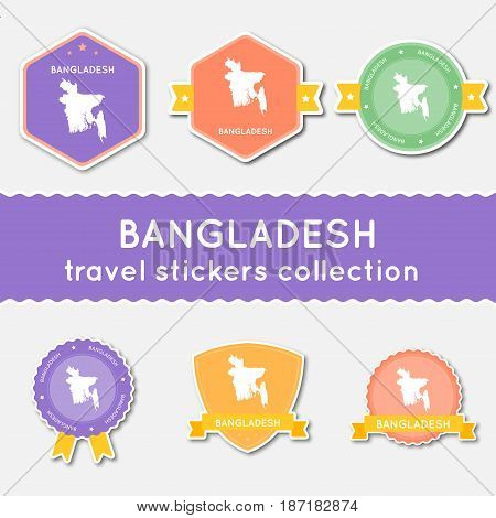 Bangladesh Travel Stickers Collection. Big Set Of Stickers With Country Map And Name. Flat Material