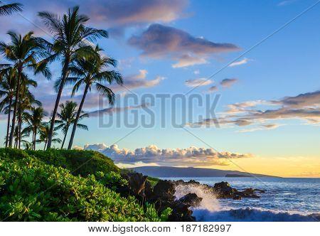 Tropical beach scene at sunset.  Palm trees and lush local foliage.  Ocean waves splashing onto lava rocks. Beautiful scenic tourist destination location at Maui, Hawaii
