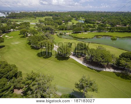 Aerial photograph of golf cource in antalya belek