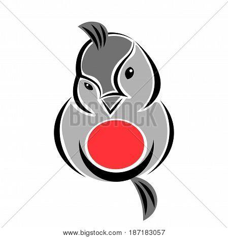 Flirty Fluffy Bullfinch Winter Bird Logo Element
