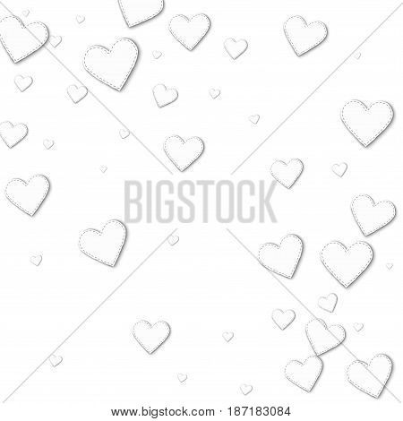 Cutout White Paper Hearts. Abstract Scattered Pattern With Cutout White Paper Hearts On White Backgr