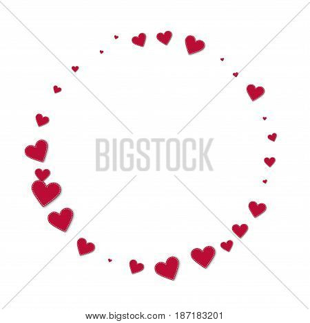 Red Stitched Paper Hearts. Round Shape On White Background. Vector Illustration.