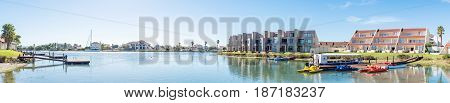 LAAIPLEK SOUTH AFRICA - APRIL 1 2017: Panoramic view of the Port Owen Marina in Laaiplek at the mouth of the Berg River on the Atlantic coast of South Africa