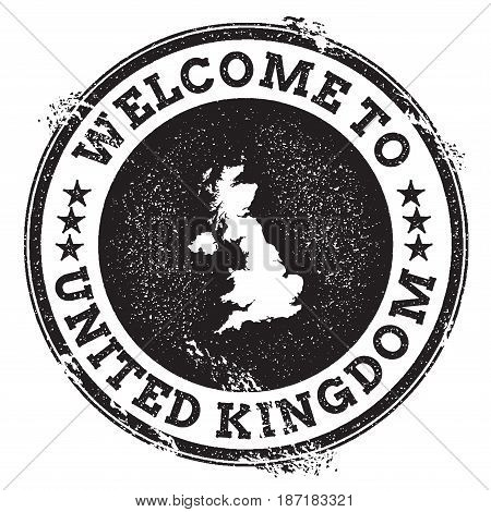 Vintage Passport Welcome Stamp With United Kingdom Map. Grunge Rubber Stamp With Welcome To United K