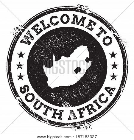 Vintage Passport Welcome Stamp With South Africa Map. Grunge Rubber Stamp With Welcome To South Afri