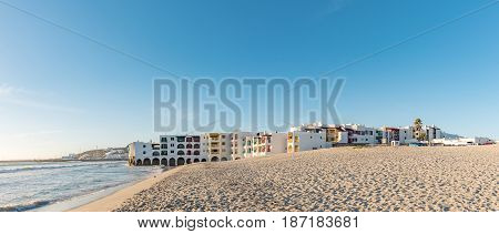 LANGEBAAN SOUTH AFRICA - APRIL 1 2017: Panorama of Club Mykonos Resort and harbor in Langebaan a town on the Atlantic Coast of the Western Cape Province