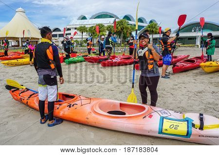 Labuan,Malaysia-Feb 19,2017:Group of adventurer ready to kayaking in Labuan island,Malaysia.Malaysia is the ideal place for water sports,like white water rafting,kayaking,scuba diving & sailing.