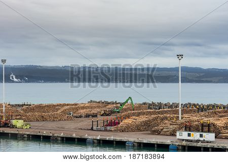 Napier New Zealand - March 9 2017: Overview of part of large timber harbor under cloudy sky. Heaps of brown tree trunks sawed at fixed length. Pacific Ocean in back. Cranes and bulldozers.