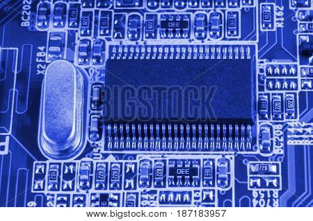 Chip On Motherboard Mainboard With Controllers, Ports And Wires, Close-up Macro Toned