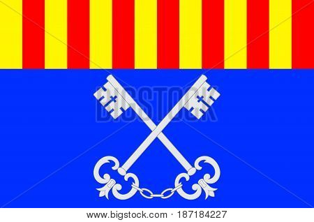 Flag of Ceret is a commune in the Pyrenees-Orientales department in southern France. Vector illustration