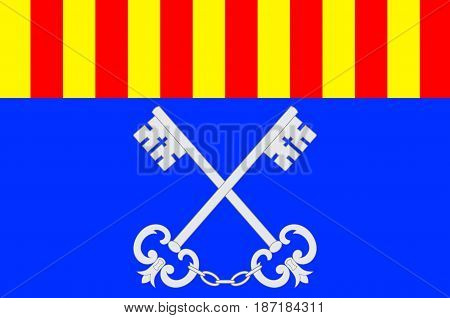 Flag of Ceret is a commune in the Pyrenees-Orientales department in southern France. 3d illustration