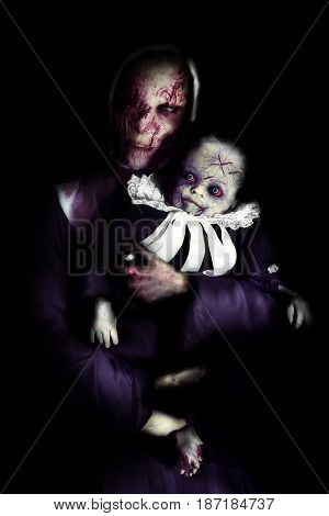 scary woman and child like zombie in horror background