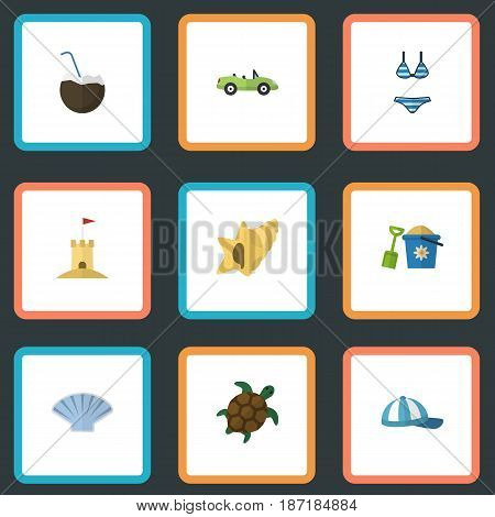 Flat Cocos, Tortoise, Conch And Other Vector Elements. Set Of Summer Flat Symbols Also Includes Coconut, Conch, Palm Objects.