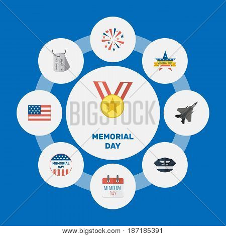 Flat Hat, Memorial Day, History And Other Vector Elements. Set Of Memorial Flat Symbols Also Includes Flag, Award, Memorial Objects.